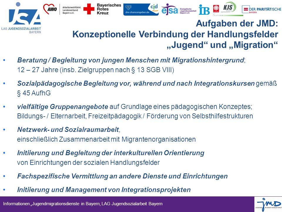 """Informationen """"Jugendmigrationsdienste in Bayern, LAG Jugendsozialarbeit Bayern Aufgaben der JMD: Konzeptionelle Verbindung der Handlungsfelder """"Jugen"""