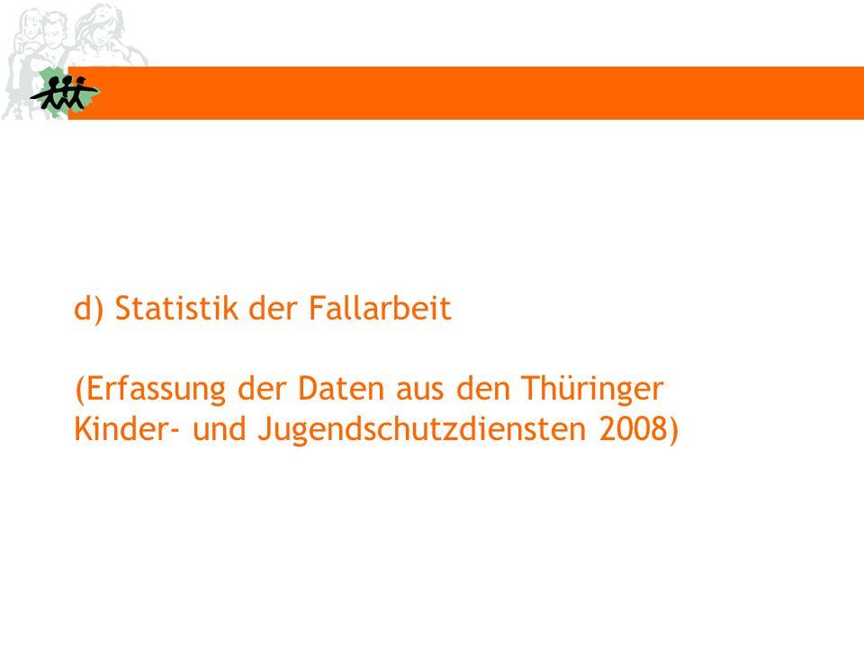 d) Statistik der Fallarbeit (Erfassung der Daten aus den Thüringer Kinder- und Jugendschutzdiensten 2008)