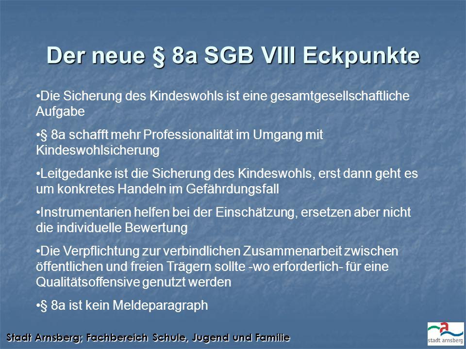 Stadt Arnsberg; Fachbereich Schule, Jugend und Familie Der neue § 8a SGB VIII Eckpunkte Die Sicherung des Kindeswohls ist eine gesamtgesellschaftliche