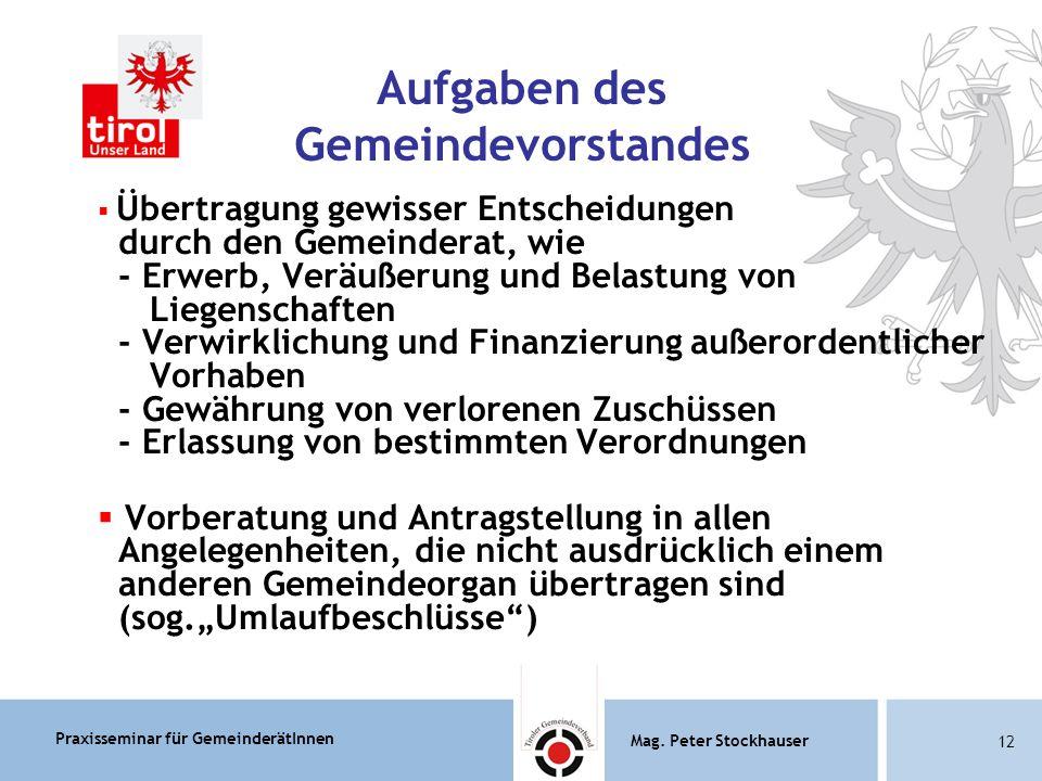 Praxisseminar für GemeinderätInnen Mag.