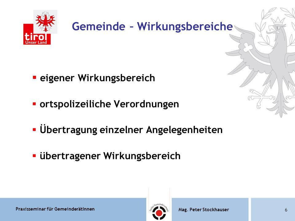 Praxisseminar für GemeinderätInnen Mag.Peter Stockhauser 87 Mag.