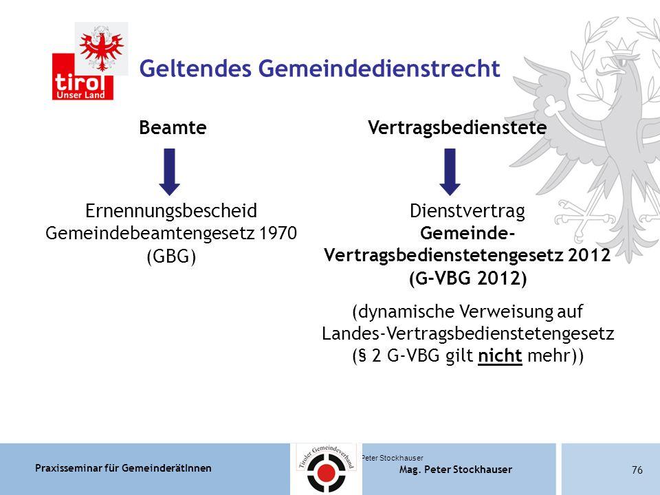 Praxisseminar für GemeinderätInnen Mag. Peter Stockhauser 76 Mag.