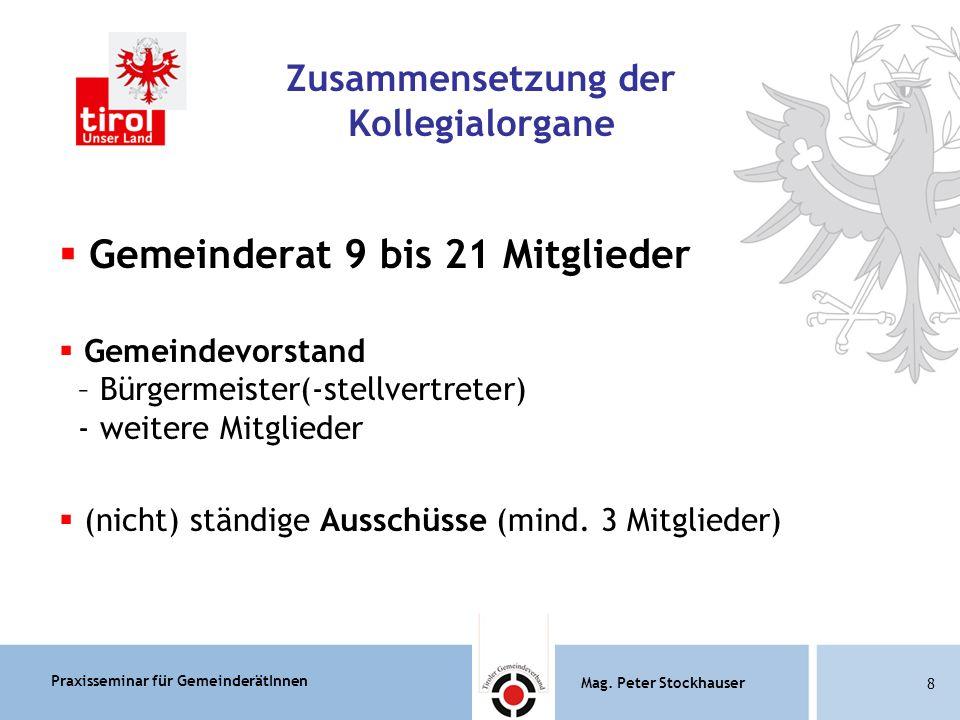 Praxisseminar für GemeinderätInnen Mag.Peter Stockhauser 79 Mag.