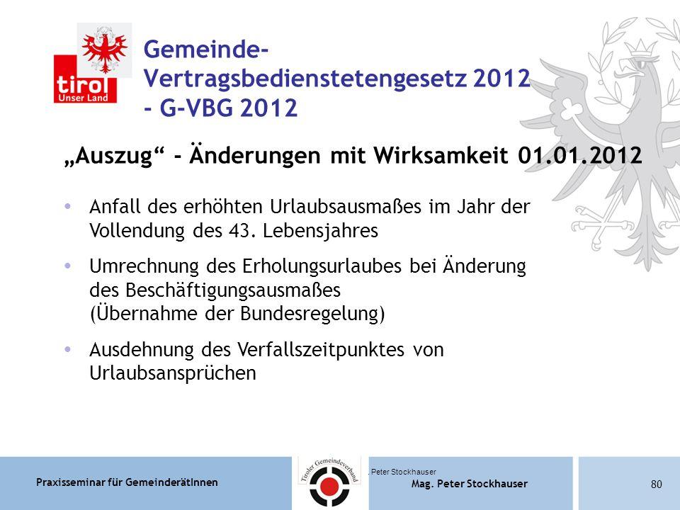 Praxisseminar für GemeinderätInnen Mag. Peter Stockhauser 80 Mag.