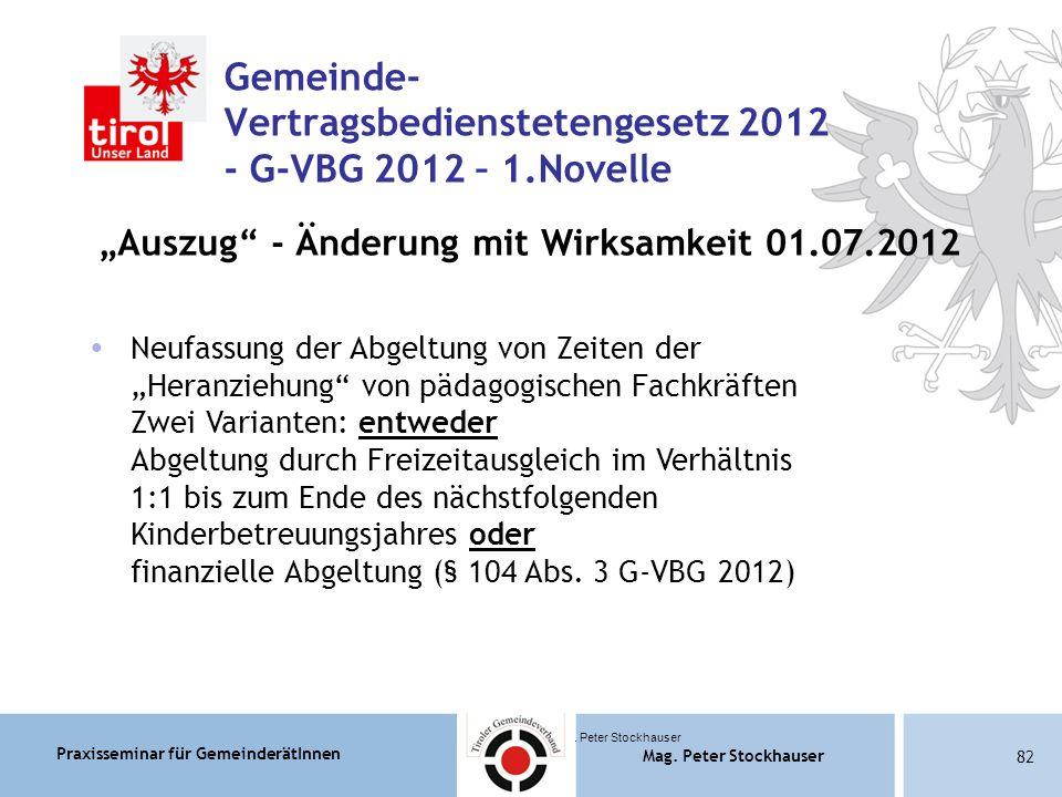 Praxisseminar für GemeinderätInnen Mag. Peter Stockhauser 82 Mag.