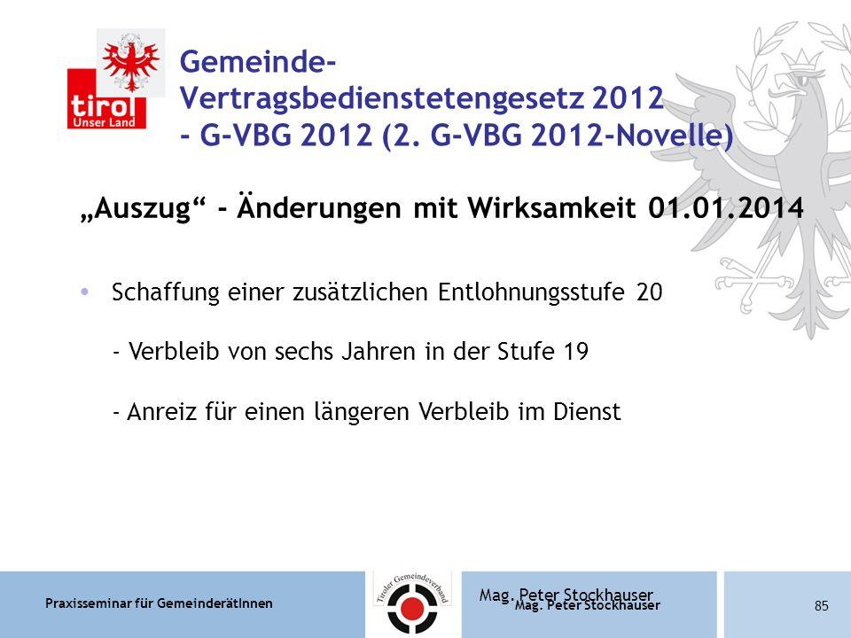 Praxisseminar für GemeinderätInnen Mag. Peter Stockhauser 85 Mag.