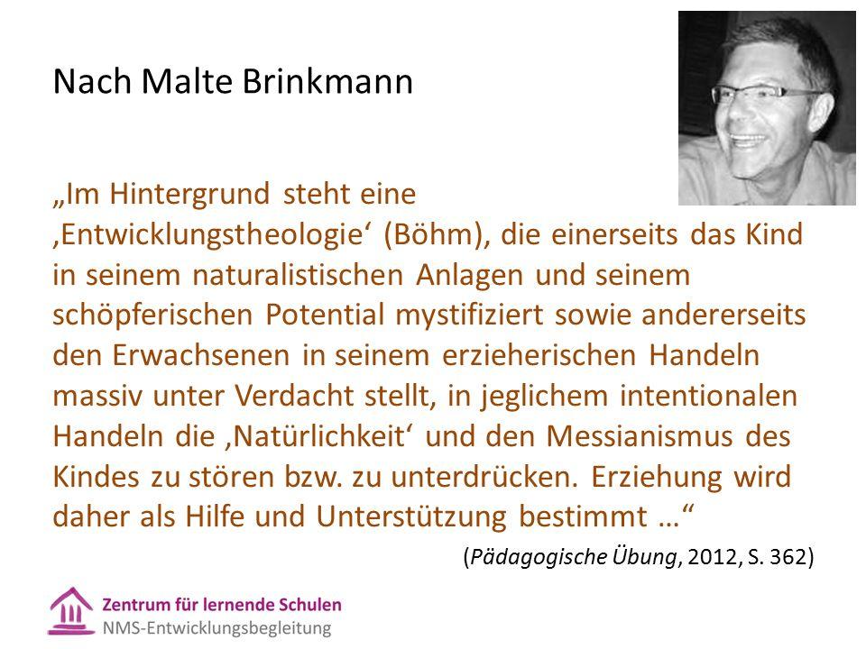 """Nach Malte Brinkmann """"Im Hintergrund steht eine 'Entwicklungstheologie' (Böhm), die einerseits das Kind in seinem naturalistischen Anlagen und seinem schöpferischen Potential mystifiziert sowie andererseits den Erwachsenen in seinem erzieherischen Handeln massiv unter Verdacht stellt, in jeglichem intentionalen Handeln die 'Natürlichkeit' und den Messianismus des Kindes zu stören bzw."""