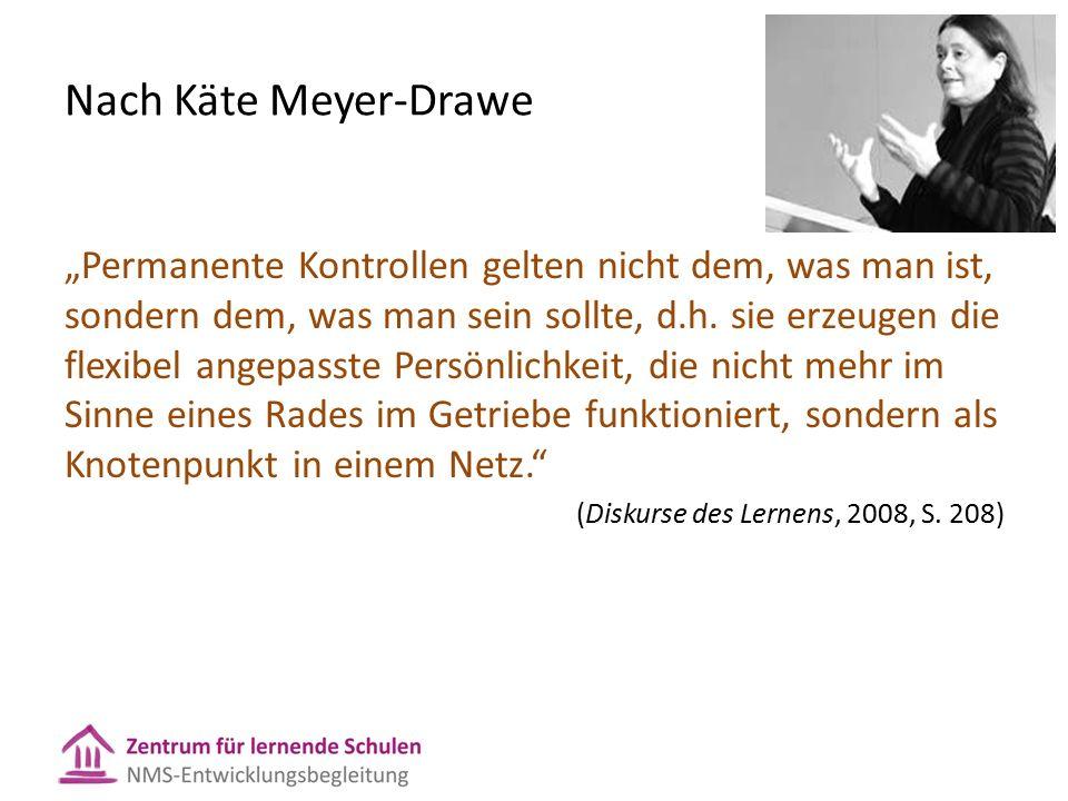 """Nach Käte Meyer-Drawe """"Permanente Kontrollen gelten nicht dem, was man ist, sondern dem, was man sein sollte, d.h."""