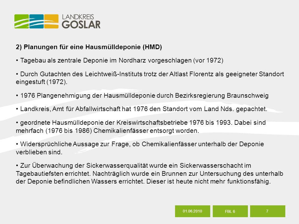 7 FBL 6 2) Planungen für eine Hausmülldeponie (HMD) Tagebau als zentrale Deponie im Nordharz vorgeschlagen (vor 1972) Durch Gutachten des Leichtweiß-Instituts trotz der Altlast Florentz als geeigneter Standort eingestuft (1972).