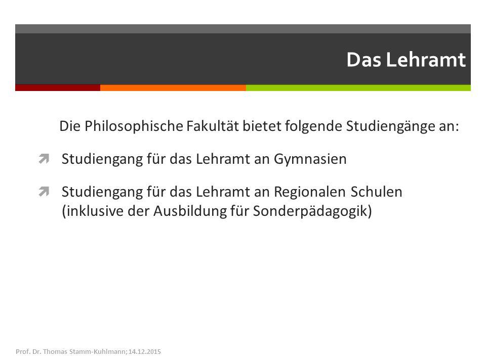 Das Lehramt Die Philosophische Fakultät bietet folgende Studiengänge an:  Studiengang für das Lehramt an Gymnasien  Studiengang für das Lehramt an Regionalen Schulen (inklusive der Ausbildung für Sonderpädagogik) Prof.