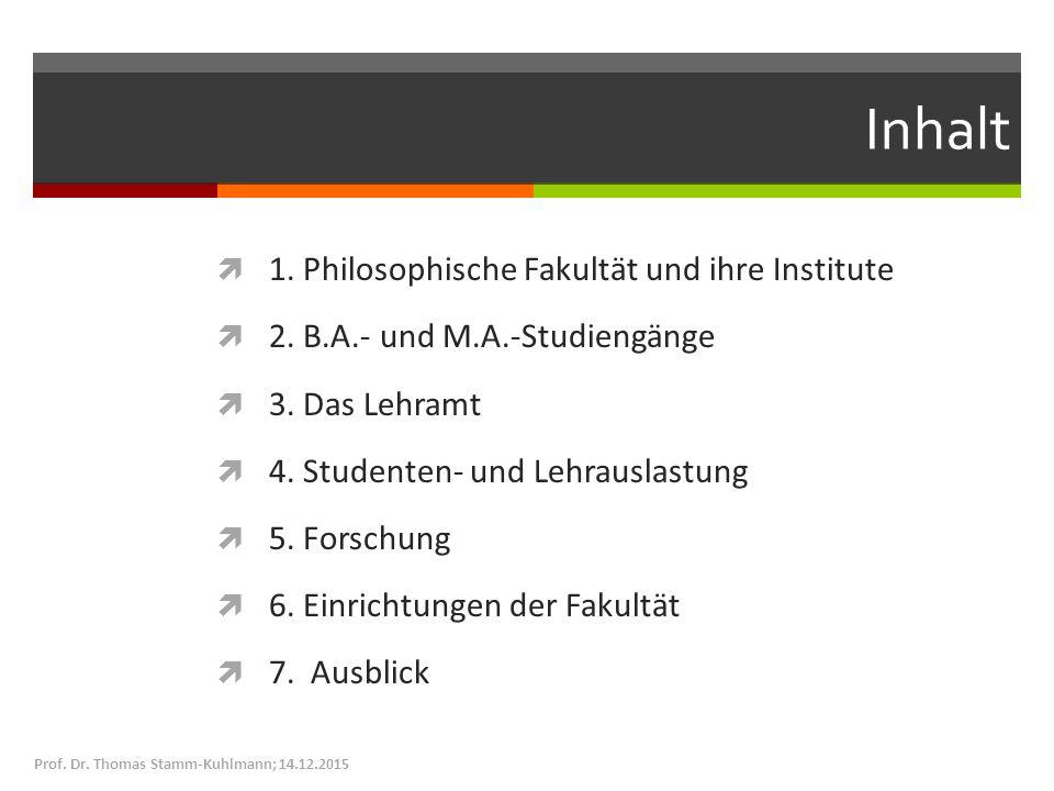 Inhalt  1. Philosophische Fakultät und ihre Institute  2. B.A.- und M.A.-Studiengänge  3. Das Lehramt  4. Studenten- und Lehrauslastung  5. Forsc