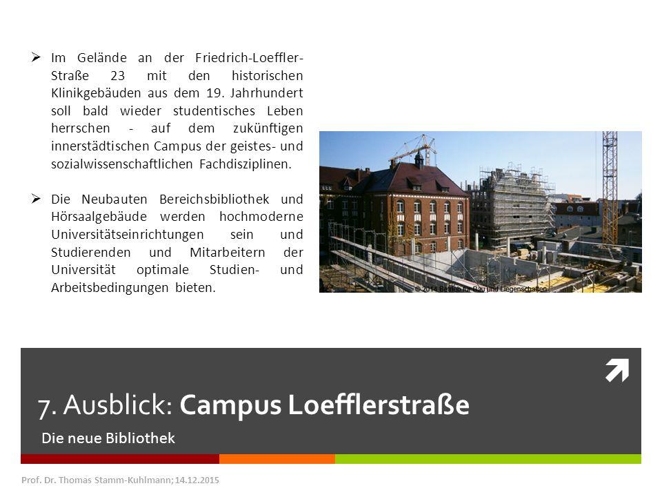  7. Ausblick: Campus Loefflerstraße Die neue Bibliothek Prof. Dr. Thomas Stamm-Kuhlmann; 14.12.2015  Im Gelände an der Friedrich-Loeffler- Straße 23