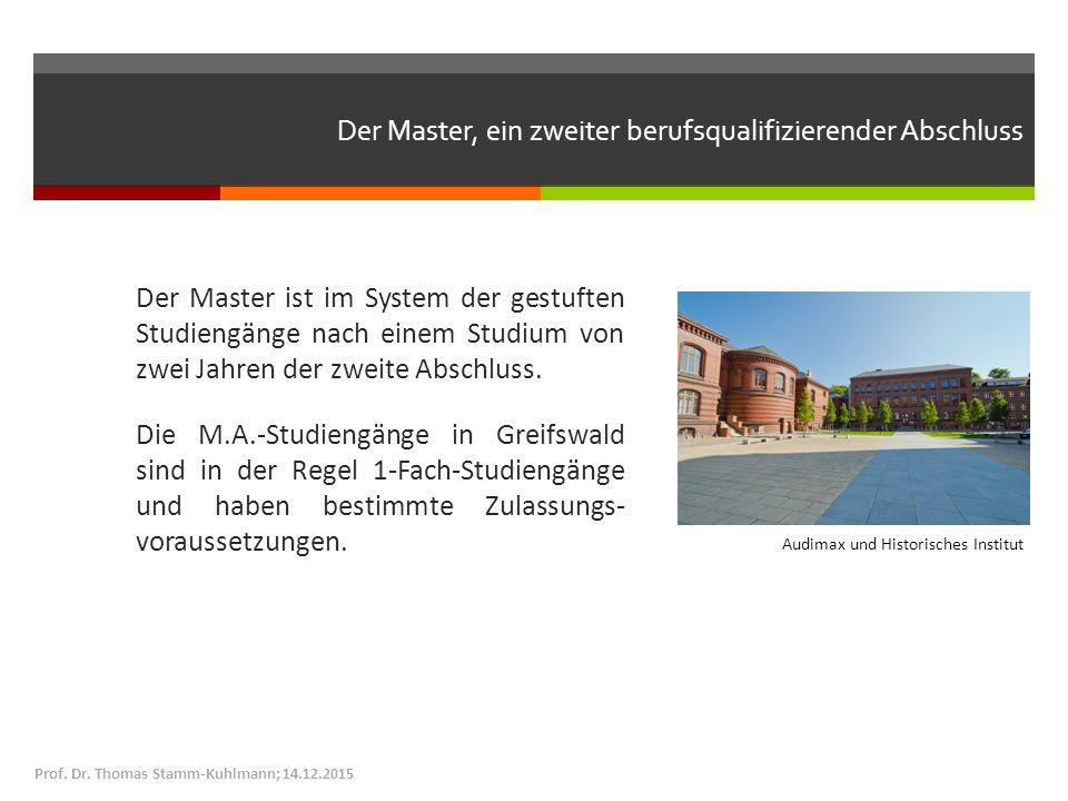 Der Master, ein zweiter berufsqualifizierender Abschluss Prof. Dr. Thomas Stamm-Kuhlmann; 14.12.2015 Der Master ist im System der gestuften Studiengän
