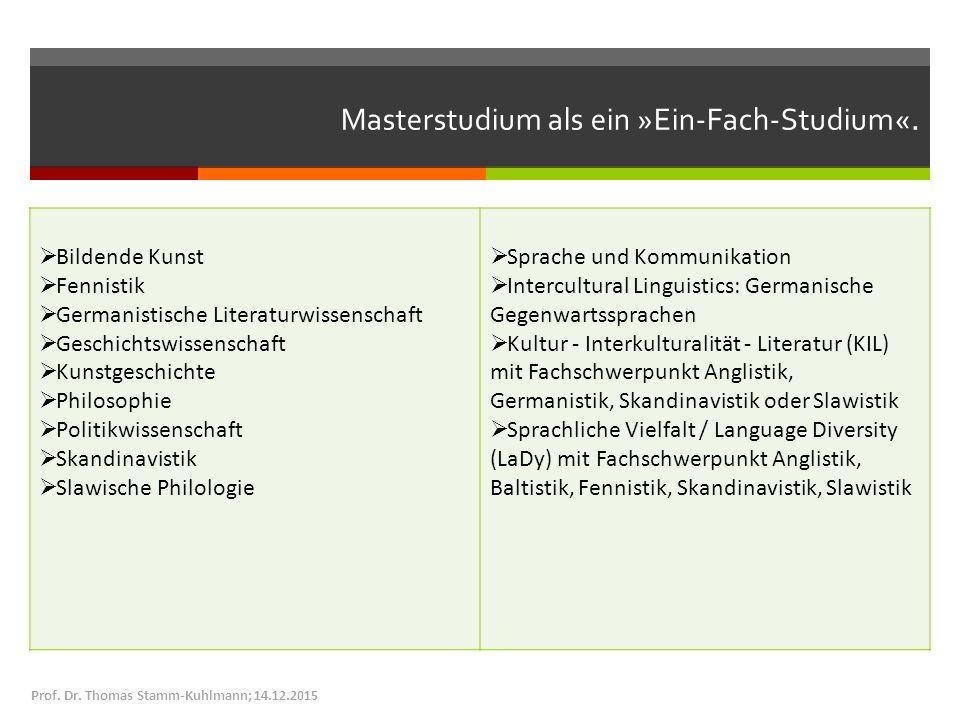 Masterstudium als ein »Ein-Fach-Studium«.  Bildende Kunst  Fennistik  Germanistische Literaturwissenschaft  Geschichtswissenschaft  Kunstgeschich