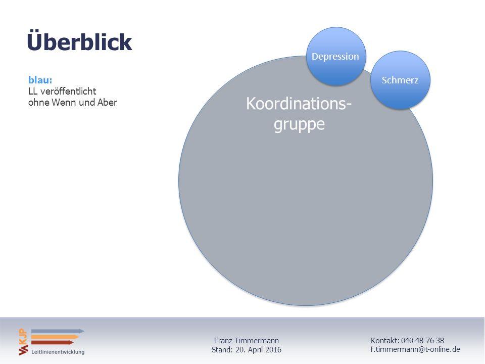 DepressionSchmerz Koordinations- gruppe Überblick blau: LL veröffentlicht ohne Wenn und Aber Kontakt: 040 48 76 38 f.timmermann@t-online.de Stand: 20.