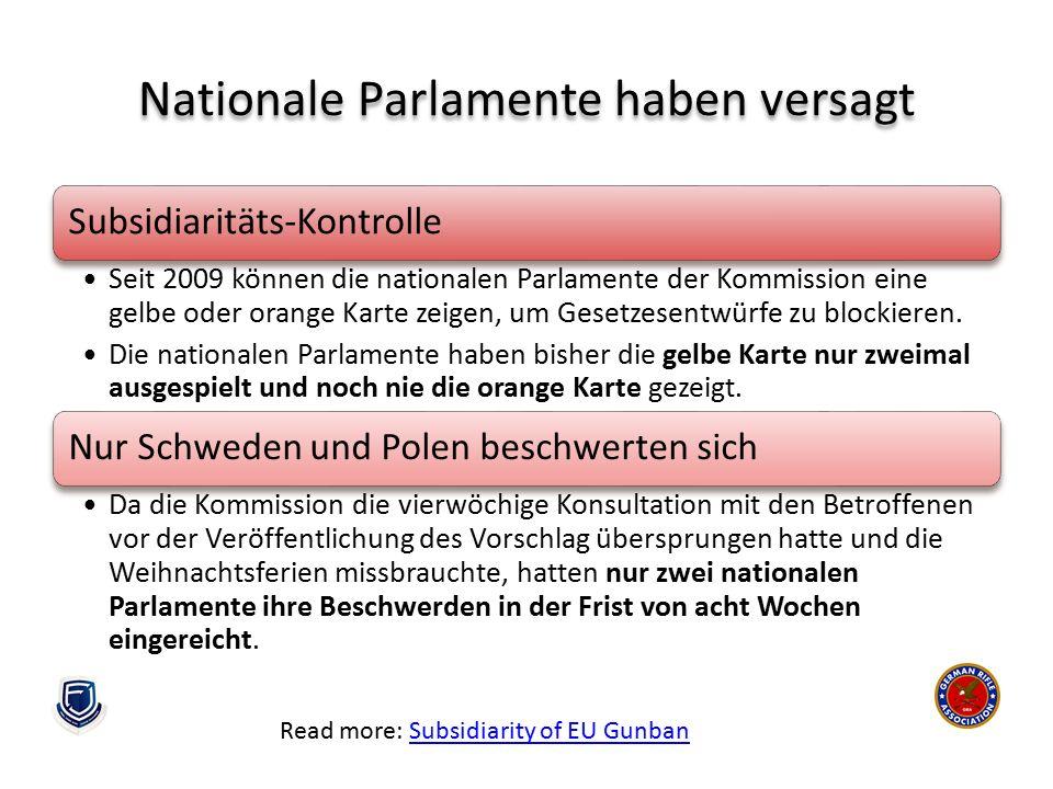 Nationale Parlamente haben versagt Read more: Subsidiarity of EU GunbanSubsidiarity of EU Gunban Subsidiaritäts-Kontrolle Seit 2009 können die nationa