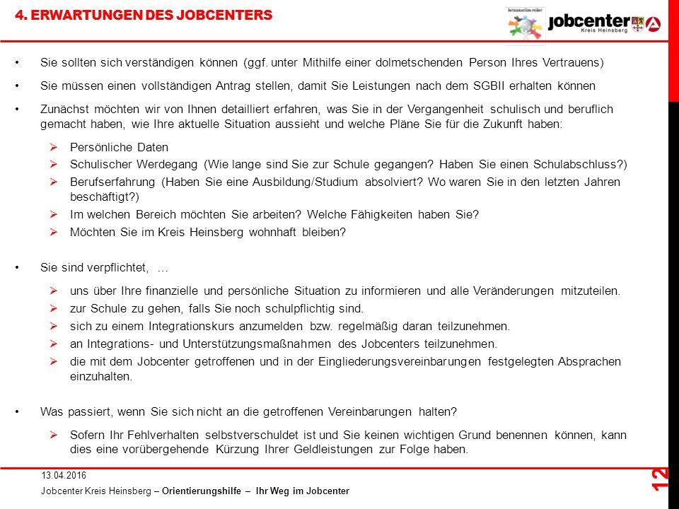 4. ERWARTUNGEN DES JOBCENTERS 13.04.2016 Jobcenter Kreis Heinsberg – Orientierungshilfe – Ihr Weg im Jobcenter 12 Sie sollten sich verständigen können