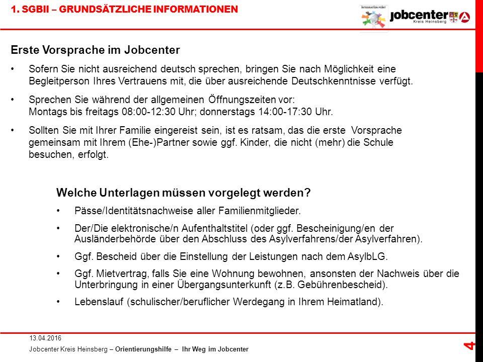 1. SGBII – GRUNDSÄTZLICHE INFORMATIONEN 13.04.2016 Jobcenter Kreis Heinsberg – Orientierungshilfe – Ihr Weg im Jobcenter 4 Welche Unterlagen müssen vo