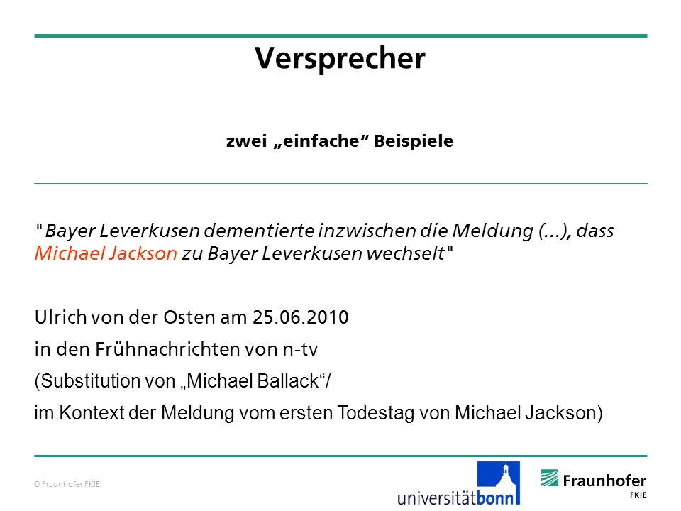 """© Fraunhofer FKIE zwei """"einfache Beispiele Versprecher Bayer Leverkusen dementierte inzwischen die Meldung (...), dass Michael Jackson zu Bayer Leverkusen wechselt Ulrich von der Osten am 25.06.2010 in den Frühnachrichten von n-tv (Substitution von """"Michael Ballack / im Kontext der Meldung vom ersten Todestag von Michael Jackson)"""