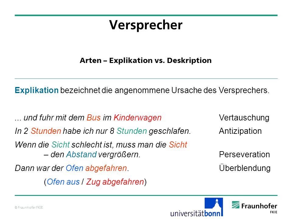 © Fraunhofer FKIE Arten – Explikation vs.