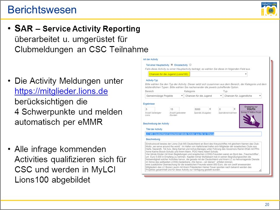 20 Berichtswesen S AR – Service Activity Reporting überarbeitet u.