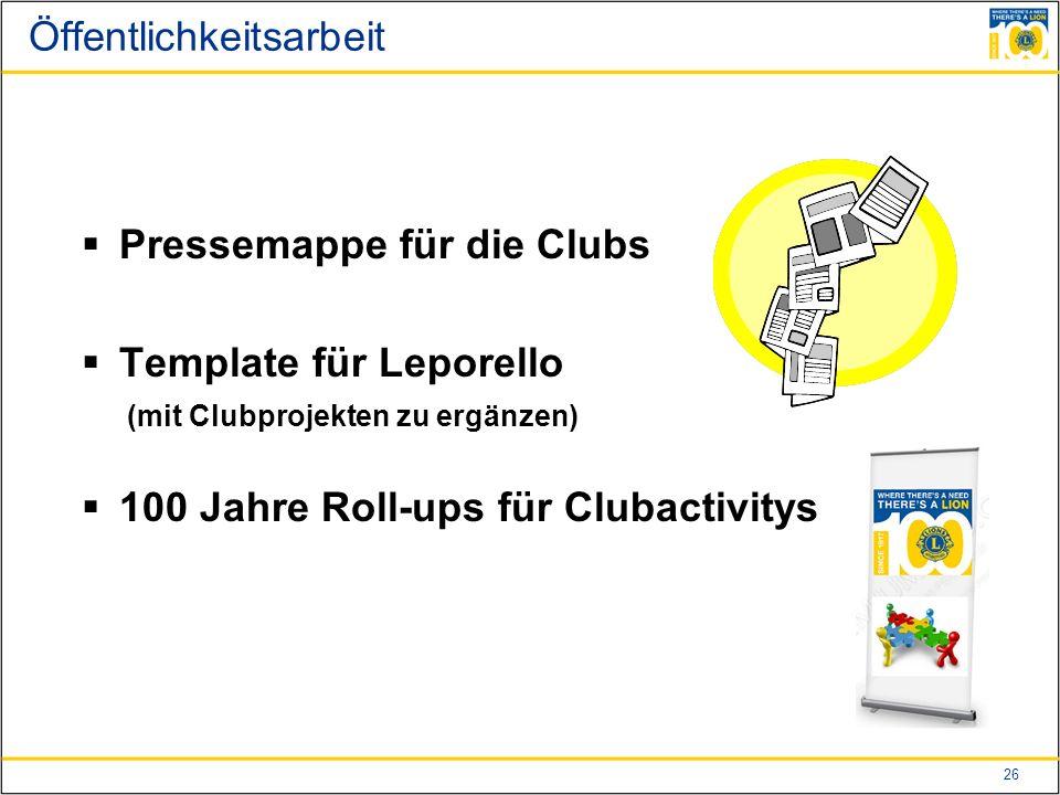 26 Öffentlichkeitsarbeit  Pressemappe für die Clubs  Template für Leporello (mit Clubprojekten zu ergänzen)  100 Jahre Roll-ups für Clubactivitys