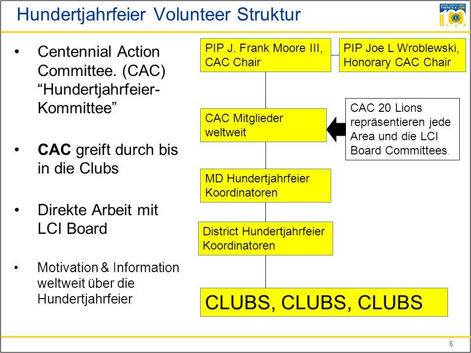 17 Activity Durchführungen von Activitys anlässlich der Hundertjahrfeier  Club Ebene – die Clubs werden aufgefordert, ihre normalen Activitys unter das Motto 100 zu stellen.