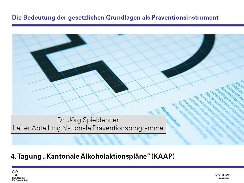 """KAAP-Tagung 28.082006 Die Bedeutung der gesetzlichen Grundlagen als Präventionsinstrument 4. Tagung """"Kantonale Alkoholaktionspläne"""" (KAAP) Dr. Jörg Sp"""