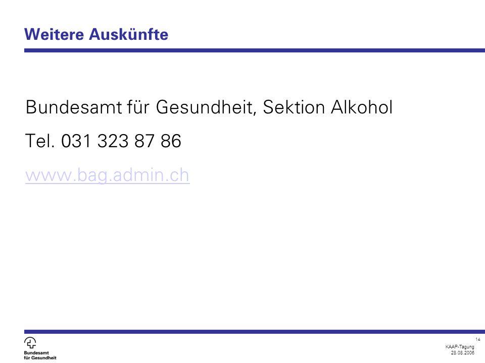 KAAP-Tagung 28.08.2006 14 Weitere Auskünfte Bundesamt für Gesundheit, Sektion Alkohol Tel. 031 323 87 86 www.bag.admin.ch