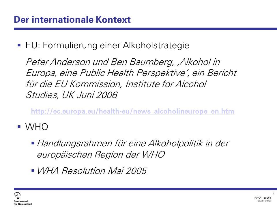 KAAP-Tagung 28.08.2006 3 Der internationale Kontext  EU: Formulierung einer Alkoholstrategie Peter Anderson und Ben Baumberg, 'Alkohol in Europa, eine Public Health Perspektive', ein Bericht für die EU Kommission, Institute for Alcohol Studies, UK Juni 2006 http://ec.europa.eu/health-eu/news_alcoholineurope_en.htm  WHO  Handlungsrahmen für eine Alkoholpolitik in der europäischen Region der WHO  WHA Resolution Mai 2005