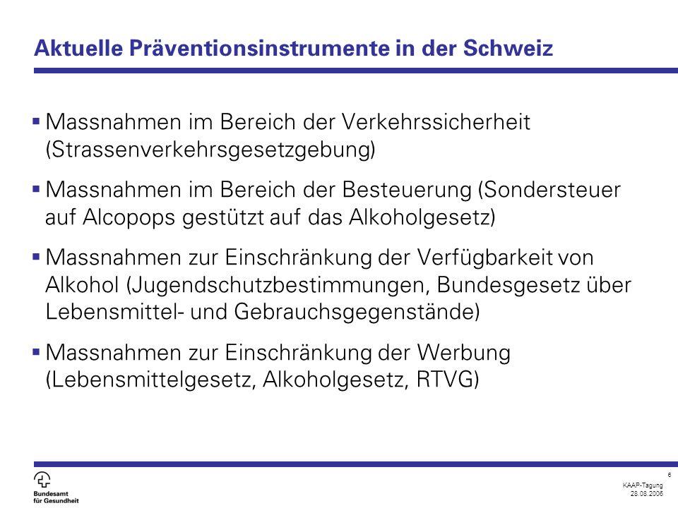 KAAP-Tagung 28.08.2006 6 Aktuelle Präventionsinstrumente in der Schweiz  Massnahmen im Bereich der Verkehrssicherheit (Strassenverkehrsgesetzgebung)