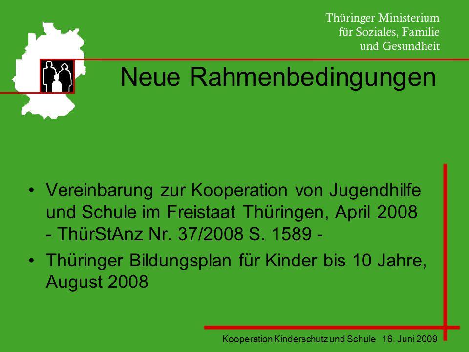 Kooperation Kinderschutz und Schule 16. Juni 2009 Neue Rahmenbedingungen Vereinbarung zur Kooperation von Jugendhilfe und Schule im Freistaat Thüringe