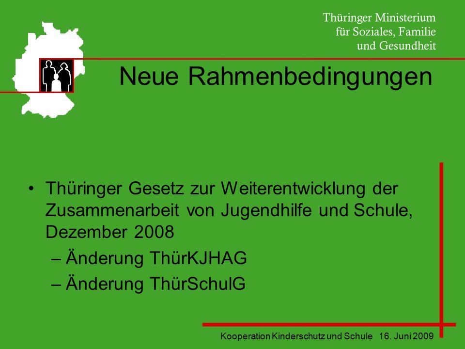 Kooperation Kinderschutz und Schule 16. Juni 2009 Neue Rahmenbedingungen Thüringer Gesetz zur Weiterentwicklung der Zusammenarbeit von Jugendhilfe und