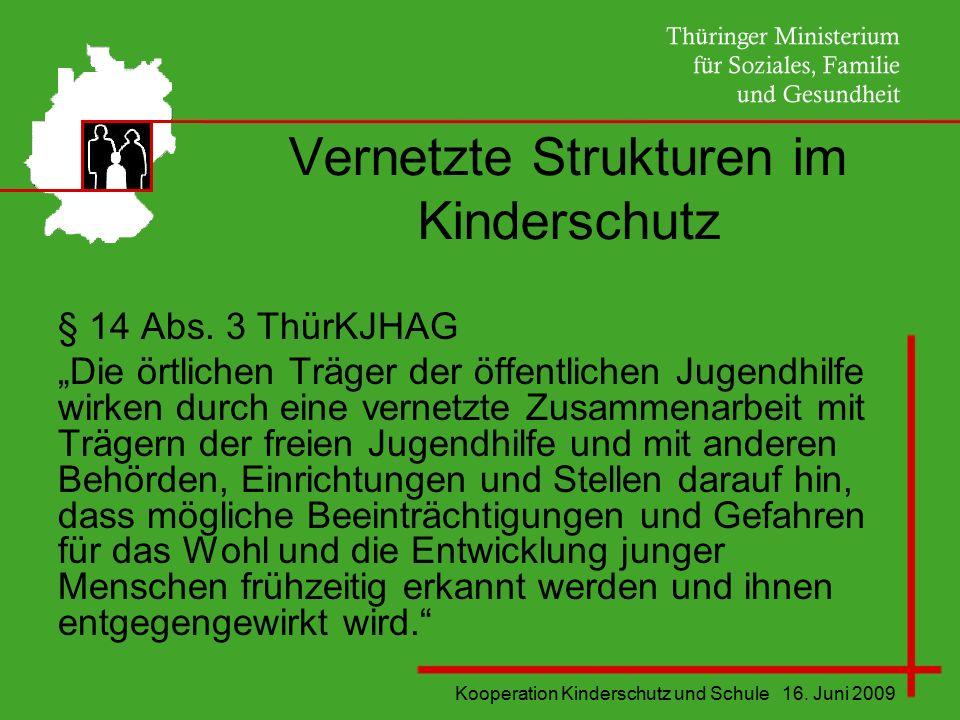 """Kooperation Kinderschutz und Schule 16. Juni 2009 Vernetzte Strukturen im Kinderschutz § 14 Abs. 3 ThürKJHAG """"Die örtlichen Träger der öffentlichen Ju"""
