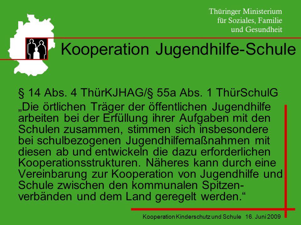"""Kooperation Kinderschutz und Schule 16. Juni 2009 Kooperation Jugendhilfe-Schule § 14 Abs. 4 ThürKJHAG/§ 55a Abs. 1 ThürSchulG """"Die örtlichen Träger d"""