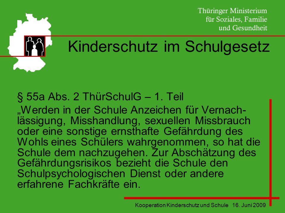 """Kooperation Kinderschutz und Schule 16. Juni 2009 Kinderschutz im Schulgesetz § 55a Abs. 2 ThürSchulG – 1. Teil """"Werden in der Schule Anzeichen für Ve"""