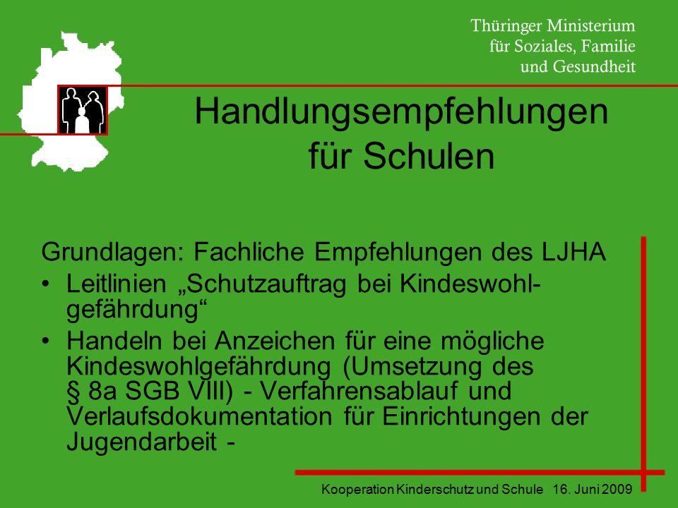 """Kooperation Kinderschutz und Schule 16. Juni 2009 Handlungsempfehlungen für Schulen Grundlagen: Fachliche Empfehlungen des LJHA Leitlinien """"Schutzauft"""