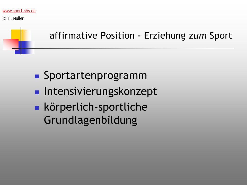 affirmative Position - Erziehung zum Sport Sportartenprogramm Intensivierungskonzept körperlich-sportliche Grundlagenbildung www.sport-sbs.de © H.