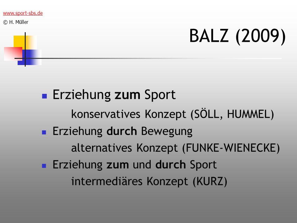 BALZ (2009) Erziehung zum Sport konservatives Konzept (SÖLL, HUMMEL) Erziehung durch Bewegung alternatives Konzept (FUNKE-WIENECKE) Erziehung zum und durch Sport intermediäres Konzept (KURZ) www.sport-sbs.de © H.