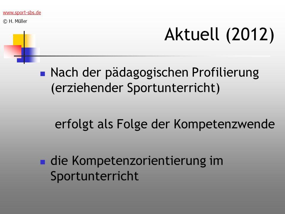 Aktuell (2012) Nach der pädagogischen Profilierung (erziehender Sportunterricht) erfolgt als Folge der Kompetenzwende die Kompetenzorientierung im Sportunterricht www.sport-sbs.de © H.