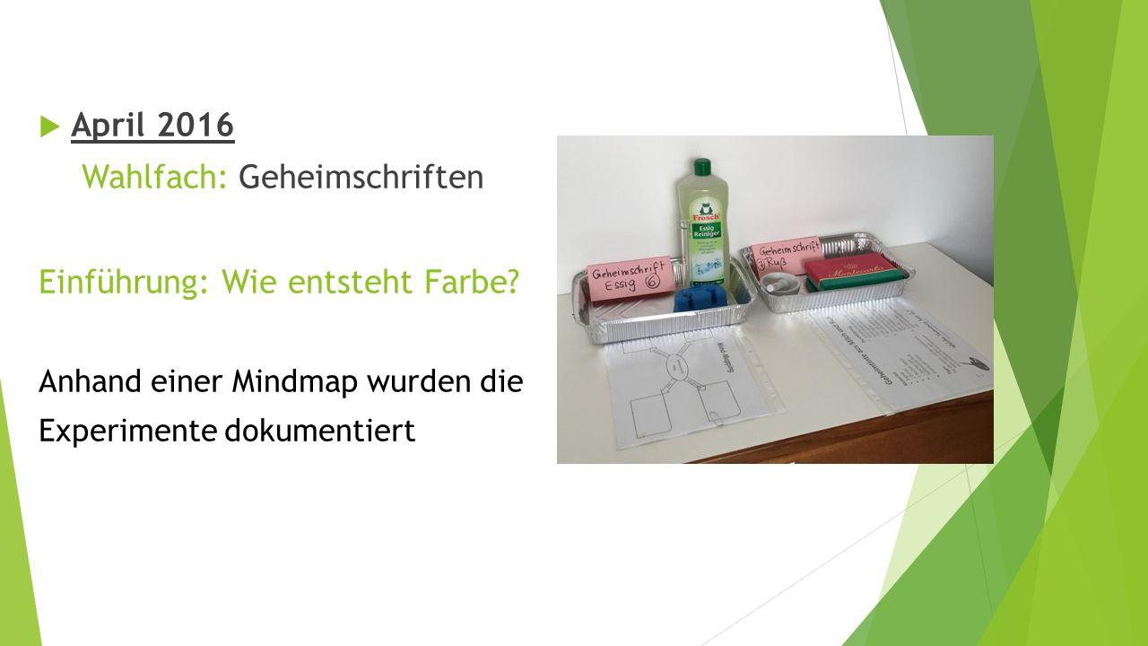  April 2016 Wahlfach: Geheimschriften Einführung: Wie entsteht Farbe.
