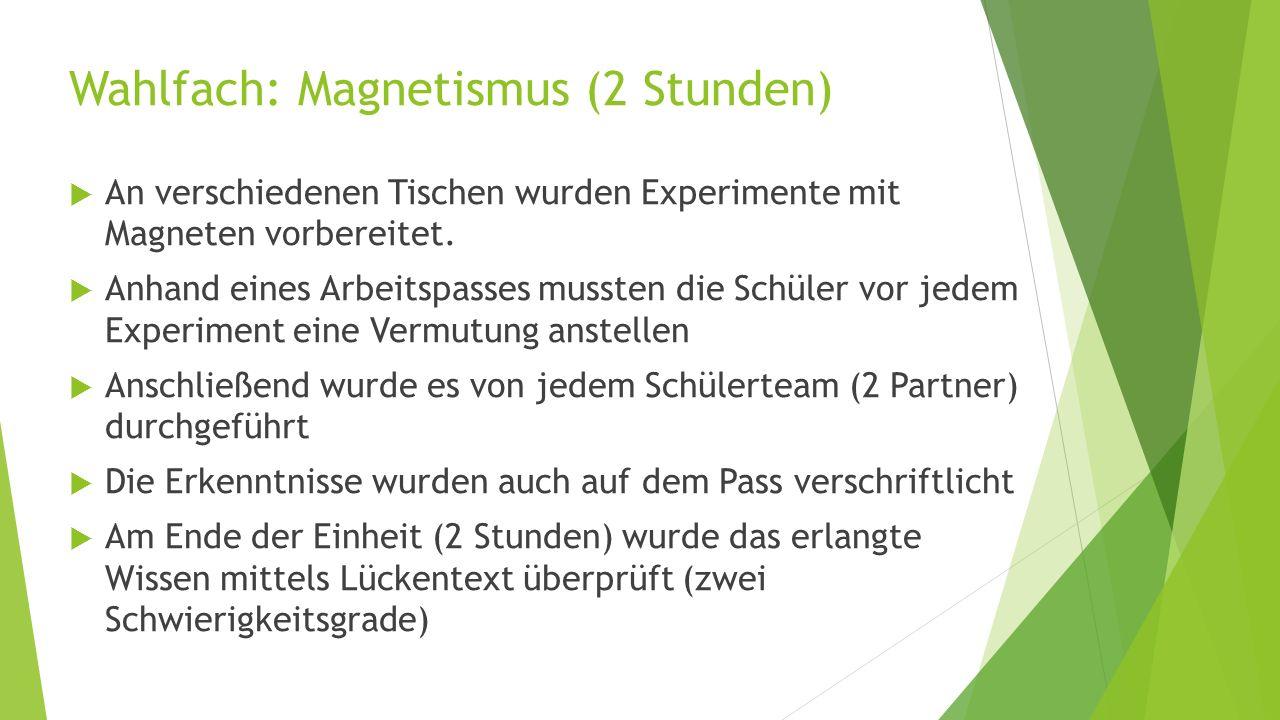 Wahlfach: Magnetismus (2 Stunden)  An verschiedenen Tischen wurden Experimente mit Magneten vorbereitet.