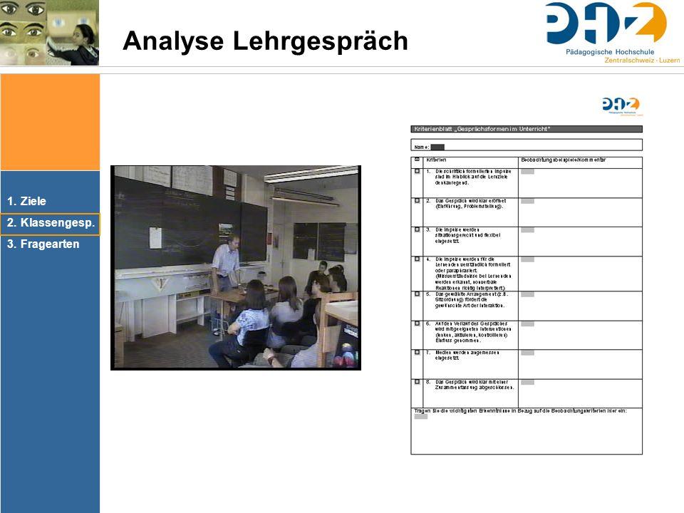 1.Ziele 2.Klassengesp. 3.Fragearten Analyse Lehrgespräch