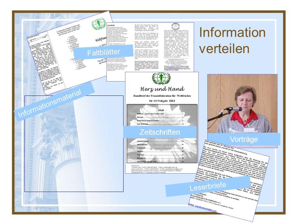 Faltblätter Vorträge Zeitschriften Informationsmaterial Leserbriefe Information verteilen