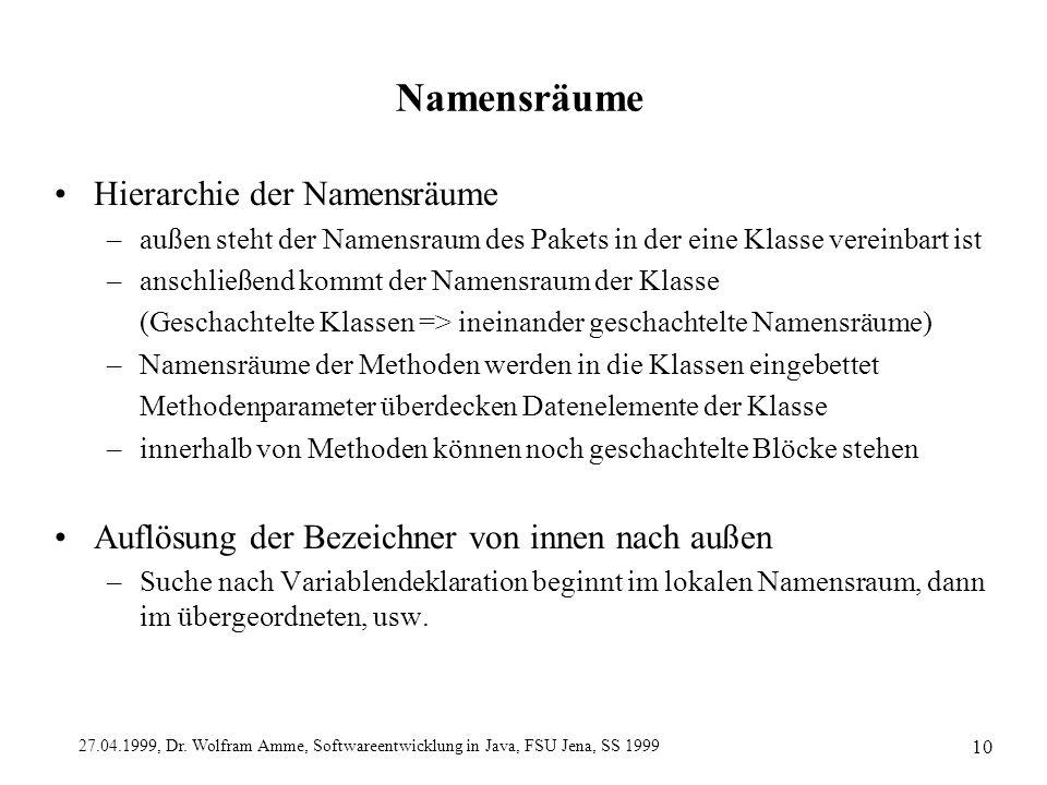 27.04.1999, Dr. Wolfram Amme, Softwareentwicklung in Java, FSU Jena, SS 1999 10 Namensräume Hierarchie der Namensräume –außen steht der Namensraum des