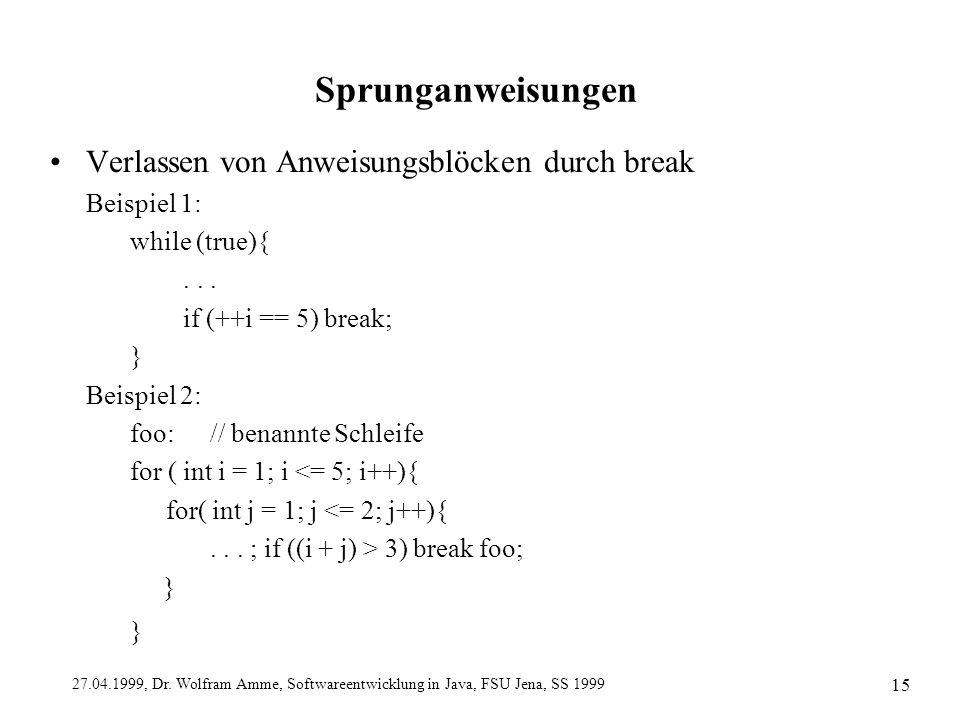 27.04.1999, Dr. Wolfram Amme, Softwareentwicklung in Java, FSU Jena, SS 1999 15 Sprunganweisungen Verlassen von Anweisungsblöcken durch break Beispiel