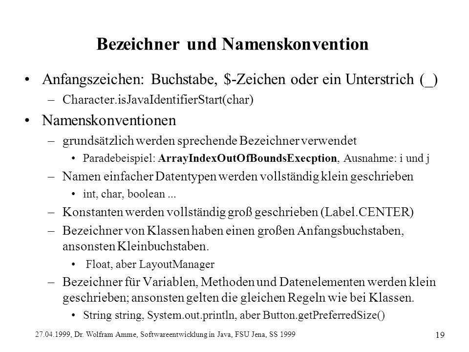 27.04.1999, Dr. Wolfram Amme, Softwareentwicklung in Java, FSU Jena, SS 1999 19 Bezeichner und Namenskonvention Anfangszeichen: Buchstabe, $-Zeichen o