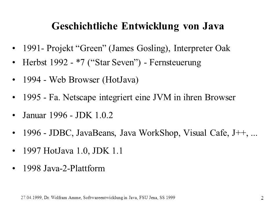 """27.04.1999, Dr. Wolfram Amme, Softwareentwicklung in Java, FSU Jena, SS 1999 2 Geschichtliche Entwicklung von Java 1991- Projekt """"Green"""" (James Goslin"""