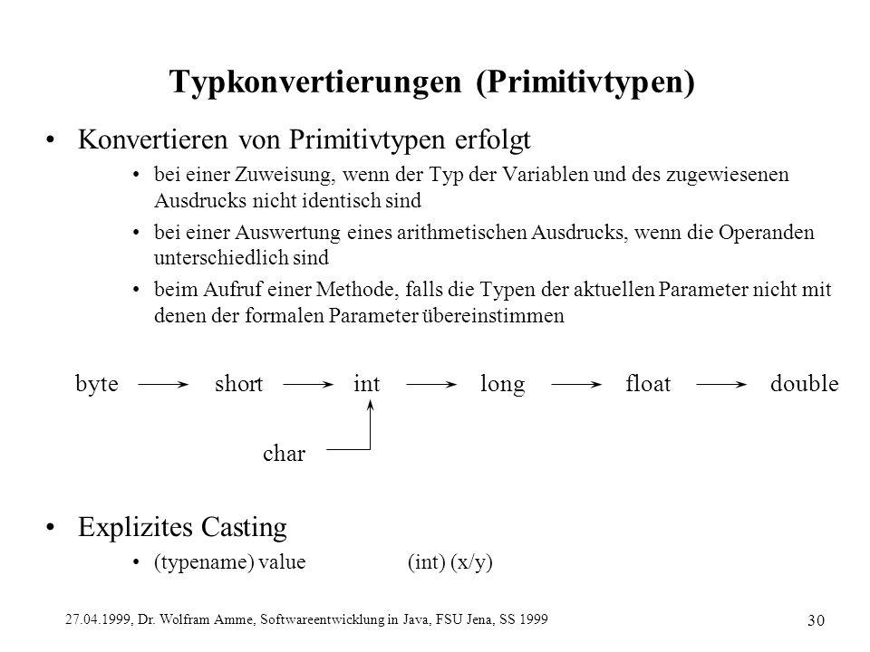 27.04.1999, Dr. Wolfram Amme, Softwareentwicklung in Java, FSU Jena, SS 1999 30 Typkonvertierungen (Primitivtypen) Konvertieren von Primitivtypen erfo