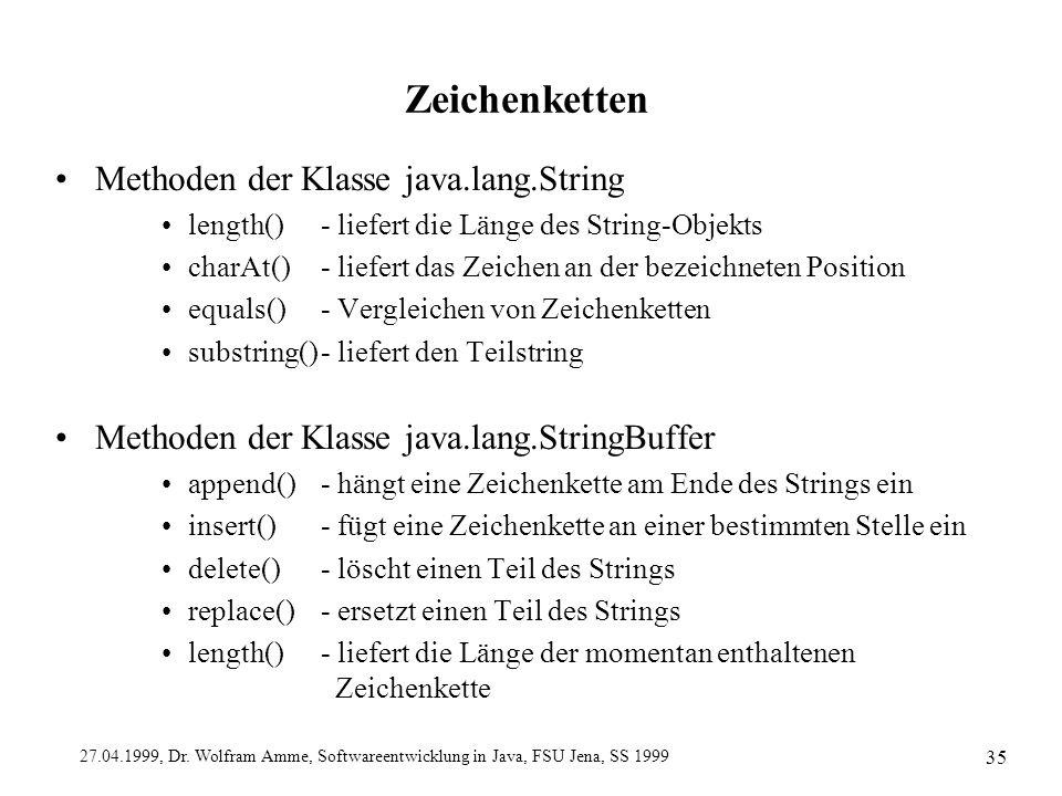 27.04.1999, Dr. Wolfram Amme, Softwareentwicklung in Java, FSU Jena, SS 1999 35 Zeichenketten Methoden der Klasse java.lang.String length()- liefert d